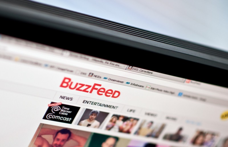 The logo of news website BuzzFeed as seen on a computer screen in Washington on March 25, 2014. (Nicholas Kamm/AFP)