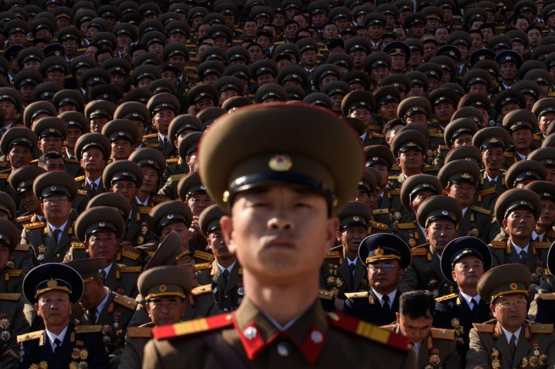 North Korean soldiers during a parade in Pyongyang on Oct. 10. (Ed Jones/AFP/Getty Images)