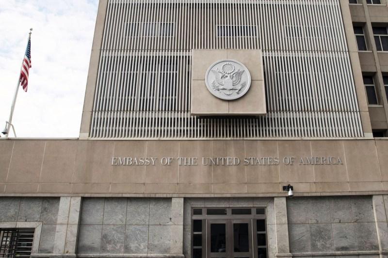 The U.S. embassy building in Tel Aviv on Dec. 28, 2016. (Jack Guez/AFP/Getty Images)