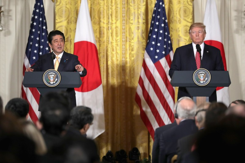 U.S. President Donald Trump holds a joint press conference with Japanese Prime Minister Shinzo Abe in Washington, D.C. on Feb. 10. (Chip Somodevilla/Getty Images)