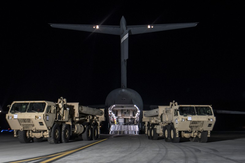 Components of the Terminal High Altitude Area Defense (THAAD) missile defense system are unloaded at Osan Air Base, South Korea, on March 6. (United States Forces Korea via Getty Images)