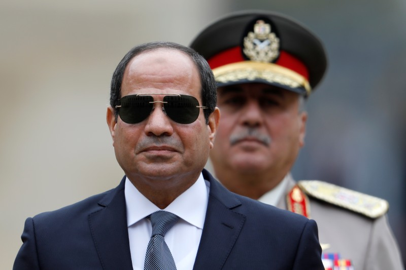 Egyptian President Abdel Fattah al-Sisi attends a military ceremony at the Hotel des Invalides in Paris on October 24, 2017.(CHARLES PLATIAU/AFP/Getty Images)