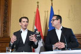 Austrian Chancellor Sebastian Kurz and Heinz-Christian Strache, chairman of the Freedom Party, give a joint press conference in Vienna on Oct. 25. (Helmut Fohringer/AFP/Getty Images)