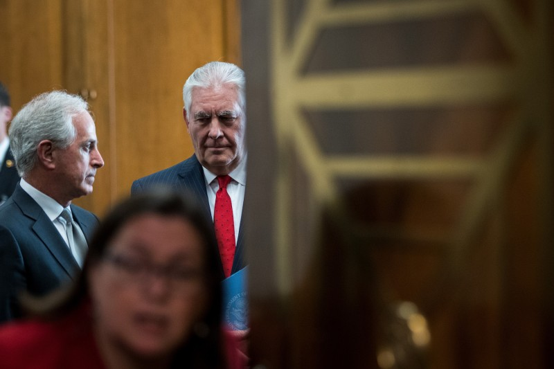 Sen. Bob Corker (R-Tenn.) talks with U.S. Secretary of State Rex Tillerson before  a Senate Foreign Relations Committee hearing, Oct. 30, 2017. (Drew Angerer/Getty Images)