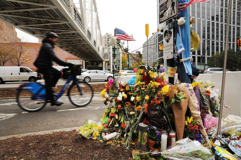 Flowers mark the location where Sayfullo Saipov crashed into cyclists along a Manhattan bike path on Oct. 31 in New York City. (Spencer Platt/Getty Images)