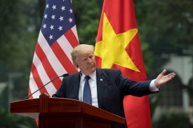 President Donald Trump talks during a joint press conference with Vietnamese President Tran Dai Quang in Hanoi on Nov. 12. (Jim Watson/AFP/Getty Images)