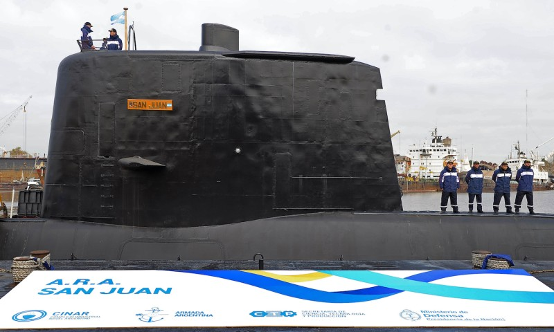 The now-missing ARA San Juan submarine in Buenos Aires on May 23, 2014. (Alejandro Moritz/AFP/Getty Images)