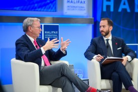 Alphabet executive chairman Eric Schmidt, left, speaks to Foreign Policy editor in chief Jonathan Tepperman at the Halifax International Security Forum on Nov. 18. (Halifax International Security Forum)