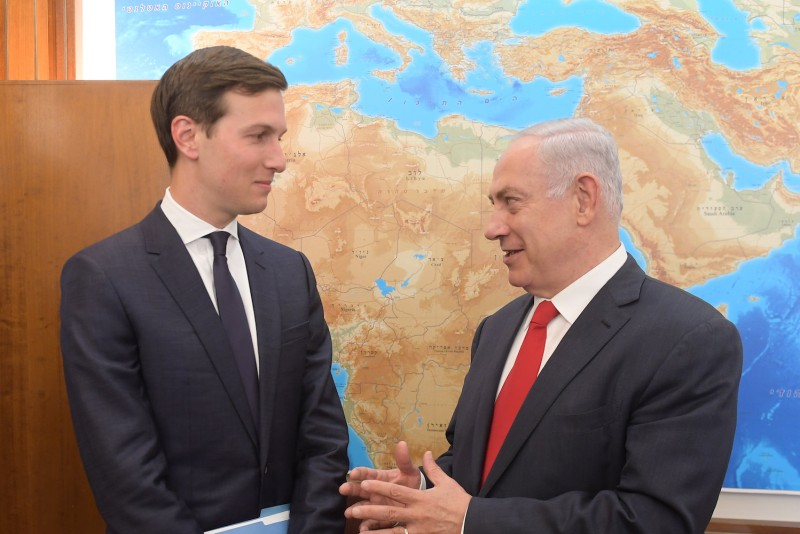 In this handout photo provided by the Israel Government Press Office (GPO), Israel's Prime Minister Benjamin Netanyahu meets with Jared Kushner on June, 21 in Jerusalem, Israel. (Amos Ben Gershom/GPO via Getty Images)
