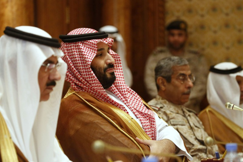 Saudi Crown Prince Mohammed bin Salman sits  at a meeting with Defense Secretary James Mattis on April 19 in Riyadh. (Jonathan Ernst - Pool/Getty Images)