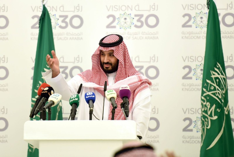 Then-Saudi Defense Minister and Deputy Crown Prince Mohammed bin Salman gestures during a press conference in Riyadh, on April 25, 2016.(Fayez Nureldine /AFP/Getty Images)