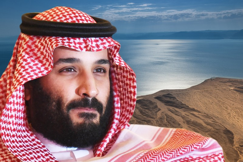 Saudi Crown Prince Mohammad Bin Salman and the landscape near the planned city of Neom.  (Foreign Policy illustration/Fayez Nureldine/AFP/Getty Images/NEOM)