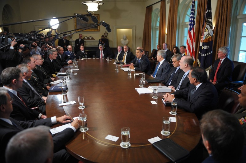 U.S. President Barack Obama presides over a meeting of the President's Intelligence Advisory Board in Washington, D.C. on Oct. 28, 2009. (Mandel Ngan/AFP/Getty Images)