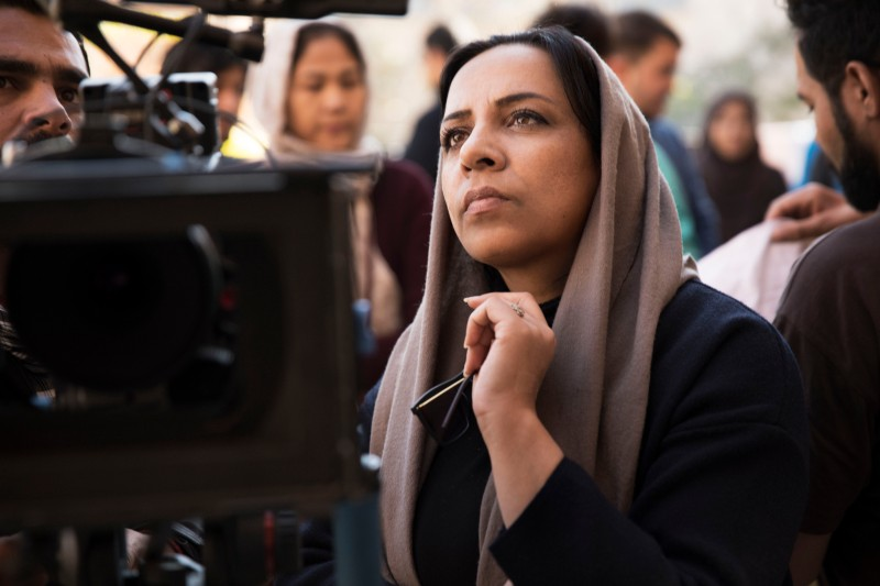 Director Roya Sadat on set in Kabul on Nov. 19. (Jesse Dittmar for Foreign Policy)