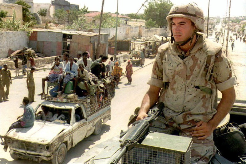 A U.S. Marine stands guard Apr. 14, 1993 from his position on an armored personnel carrier at a check-point in Mogadishu. (Eric Cabanis/AFP/GettyImages)