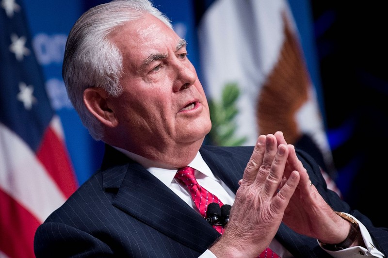 U.S. Secretary of State Rex Tillerson speaks at a Woodrow Wilson Center event in the Reagan Building Nov. 28, in Washington, DC. (Brendan Smialowski/AFP/Getty Images)