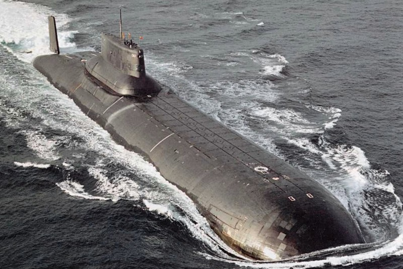 The fictional Red October, while modified, would look quite similar to this Typhoon-class ballistic missile submarine. (Bellona Foundation via Wikimedia Commons)