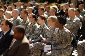 Soldiers, officers, and civilian employees attend the commencement ceremony for the U.S. Army's annual observance of Sexual Assault Awareness and Prevention Month in the Pentagon Center Courtyard on March 31, 2015 in Arlington, Virginia. (Chip Somodevilla/Getty Images)