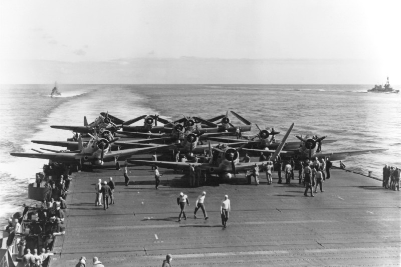 U.S. navy aircraft on the deck of the USS Enterprise on the first day of the Battle of Midway.