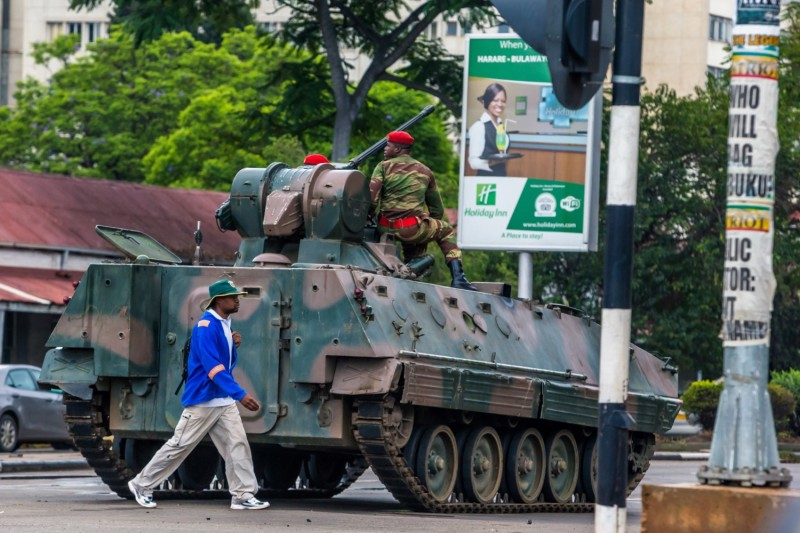 Soldiers deployed to the streets of Zimbabwe's capital, Harare, on Nov. 15 as the military appeared to seize control. (AFP/Getty Images)