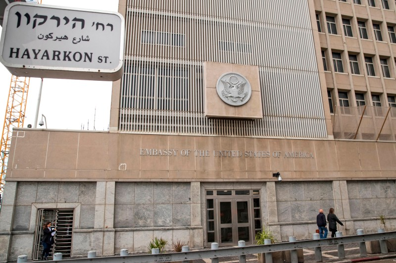The US embassy in Tel Aviv on December 6. (Jack Guez/AFP/Getty Images).