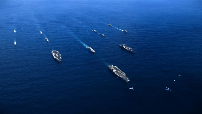 U.S. Navy aircraft carriers USS Ronald Reagan, Theodore Roosevelt and Nimitz transit the Western Pacific on Nov. 12. (U.S. Navy)