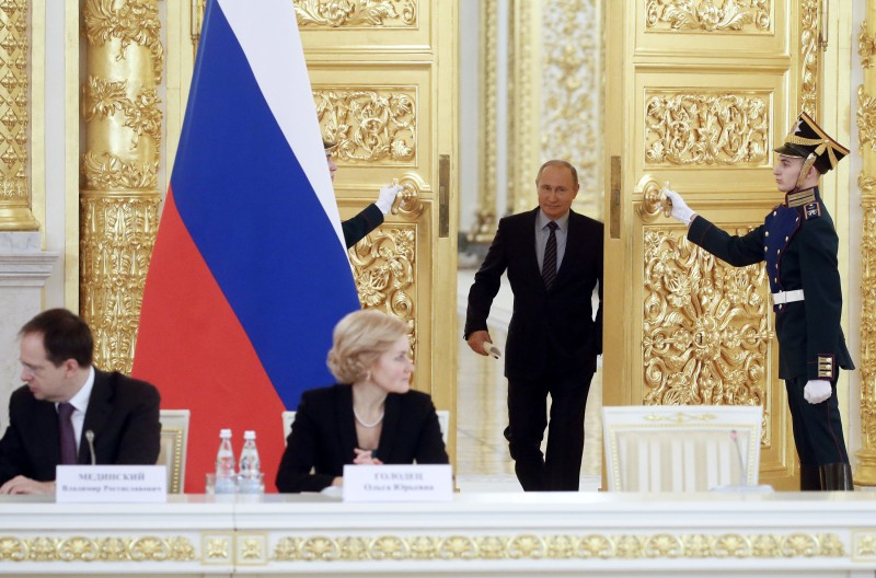Russian President Vladimir Putin arrives a meeting at the Kremlin in Moscow on Dec. 21. (Maxim Shipenkov/AFP/Getty Images)
