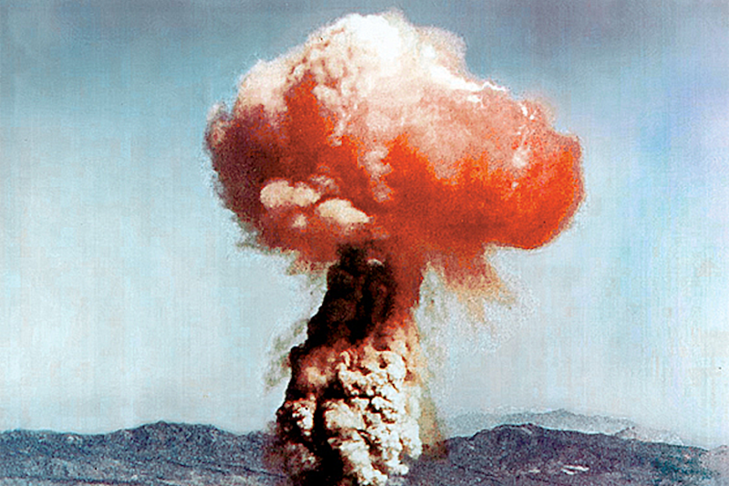 An atomic bomb blast in Nevada in 1951. (Wikimedia Commons)
