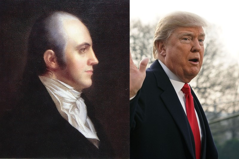 Aaron Burr, the third vice president of the United States; U.S. President Donald Trump on the South Lawn of the White House Dec. 4,  in Washington, D.C. (The New York Historical Society via Wikimedia Commons; Alex Wong/Getty Images)