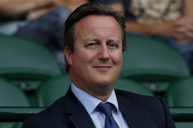 Britain's former Prime Minister David Cameron sits in the Royal Box on Centre Court following the women's singles semi-finals on the tenth day of the 2017 Wimbledon Championships at The All England Lawn Tennis Club in Wimbledon, southwest London, on July 13. (Adrian Dennis/AFP/Getty Images)