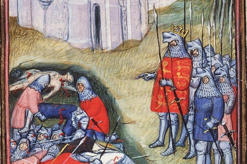 Edward III counting the dead after the battle of Crécy. (Wikimedia Commons)