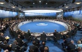 Leaders hold a meeting on Afghanistan during the NATO 2014 summit in Newport, South Wales, on Sep. 4, 2014. (Saul Loeb/AFP/Getty Images)