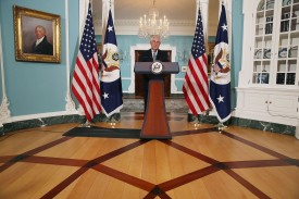 U.S. Secretary of State Rex Tillerson speaks at the State Department on April 19, in Washington, DC.  (Mark Wilson/Getty Images)
