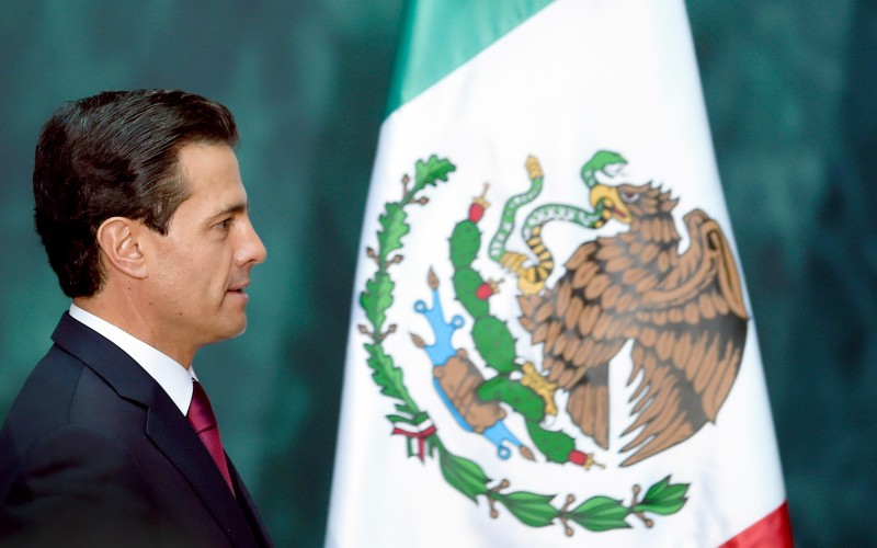 Mexican President Enrique Pena Nieto at the National Palace in Mexico City on April 24, 2017. (Alfredo Estrella/AFP/Getty Images)
