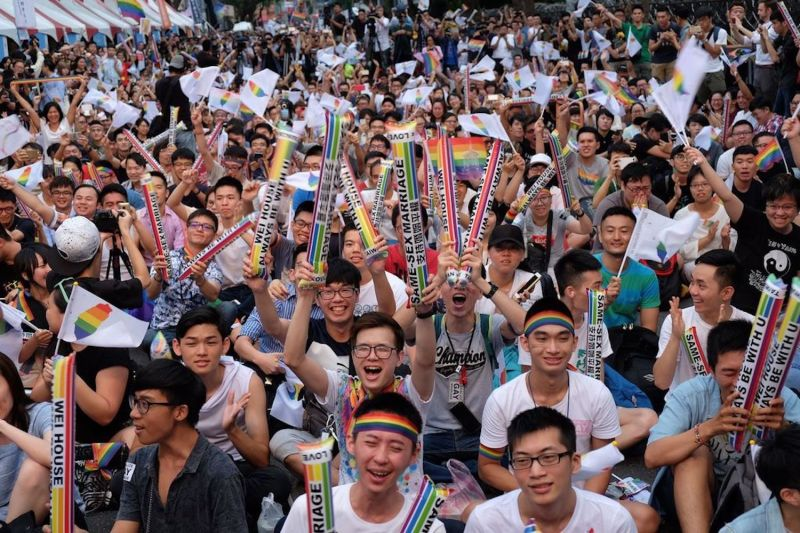 Same-sex activists outside the parliament in Taipei on May 24. (Sam Yeh/AFP/Getty Images)