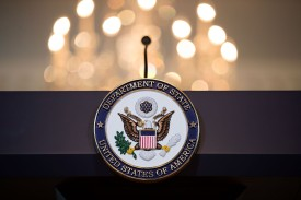 The State Department seal on the podium before a photo opportunity from Secretary of State Rex Tillerson, June 9 in Washington, D.C. (Drew Angerer/Getty Images)