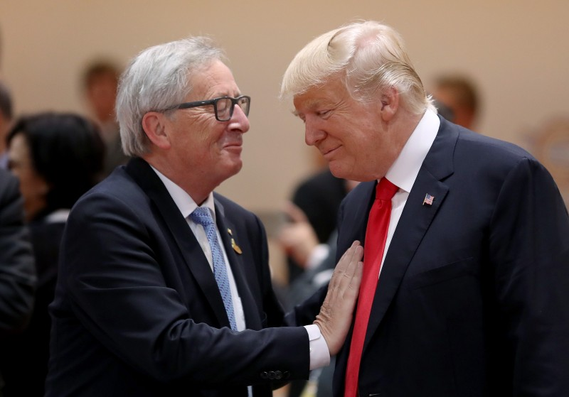 U.S. President Donald Trump and President of the European Commission Jean-Claude Juncker at a G20 economic summit on July 8, 2017 in Hamburg, Germany. (Sean Gallup/Getty Images)