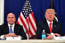 President Donald Trump, with National Security Advisor H. R. McMaster, on August 10, 2017.  (Nicholas Kamm/AFP/Getty Images)