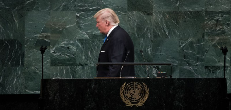 President Donald Trump leaves the lecture after addressing the United Nations General Assembly at UN headquarters, September 19, 2017 in New York City. (Drew Angerer/Getty Images)