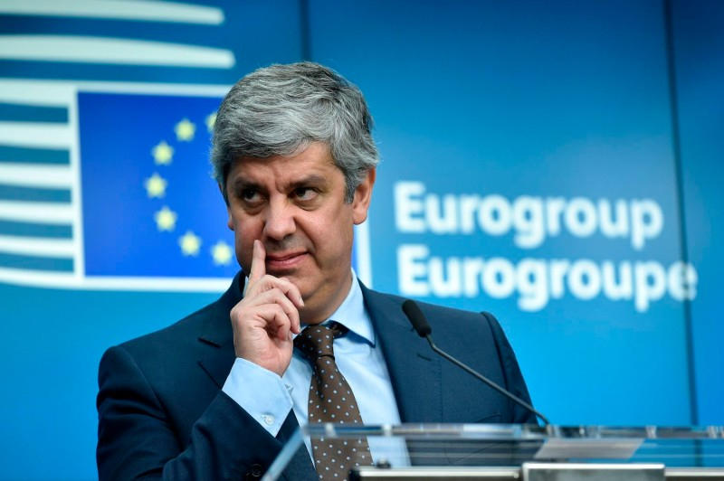 New Eurogroup President Mário Centeno gestures as he addresses a press conference at the European Council in Brussels on Dec. 4. (John Thys/AFP/Getty Images)