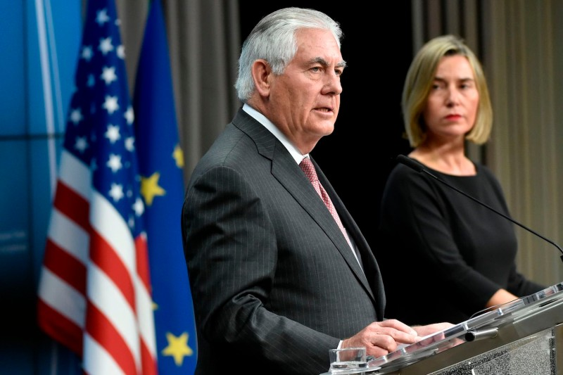 U.S. Secretary of State Rex Tillerson and EU foreign policy chief Federica Mogherini at a joint press conference in Brussels on Dec. 5. (John Thys/AFP/Getty Images)