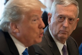 U.S. President Donald Trump speaks alongside Secretary of Defense James Mattis at a cabinet meeting in the White House on Dec. 6, 2017. (SAUL LOEB/AFP/Getty Images)