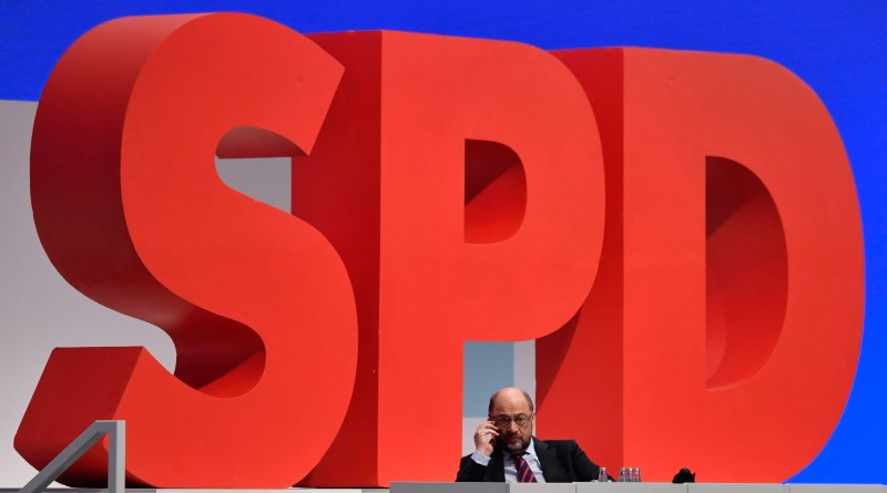 Leader of the Social Democratic Party (SPD) Martin Schulz makes a phone call during a party congress on December 9, 2017 in Berlin. (John MacDougall/AFP)