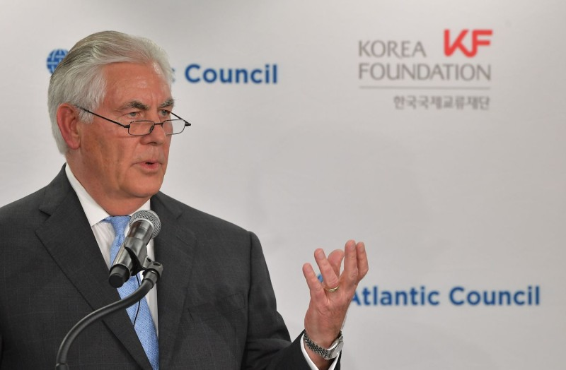 U.S. Secretary of State Rex Tillerson speaks during a forum on U.S.-South Korea relations at the Atlantic Council in Washington, D.C. on Dec. 12. (Mandel Ngan/AFP/Getty Images)