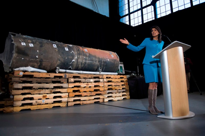 U.S. Ambassador to the United Nations Nikki Haley shows evidence intending to prove Iran provided Houthi rebels in Yemen with arms on Dec. 14, 2017. (Jim Watson/AFP/Getty Images)
