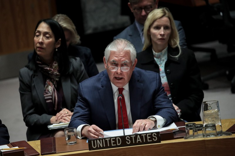 U.S. Secretary of State Rex Tillerson speaks during a U.N. Security Council meeting in New York on Dec. 15. (Drew Angerer/Getty Images)