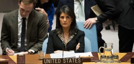 U.S. Ambassador to the United Nations Nikki Haley at a U.N. Security Council meeting in New York on Dec. 18, 2017. (Drew Angerer/Getty Images)