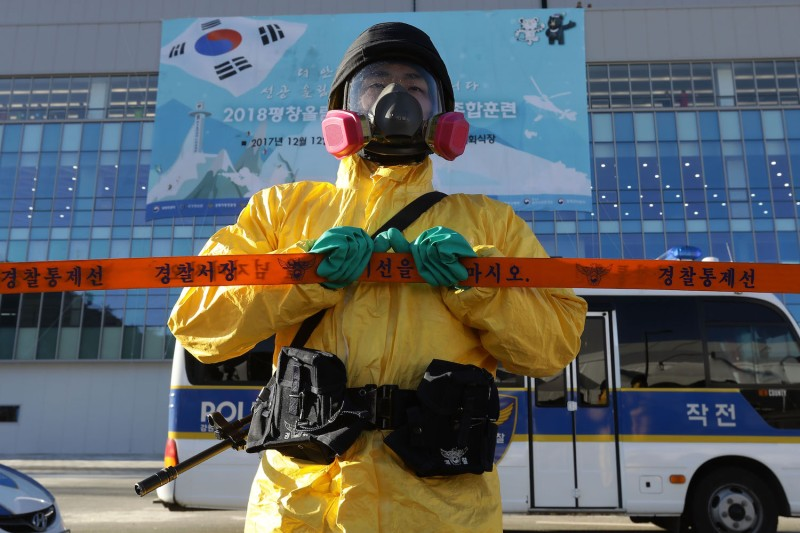 South Korean policemen participate in an anti-terror drill at the Olympic Staduim, venue of the Opening and Closing ceremony on Dec. 12, in Pyeongchang-gun, South Korea. (Chung Sung-Jun/Getty Images)