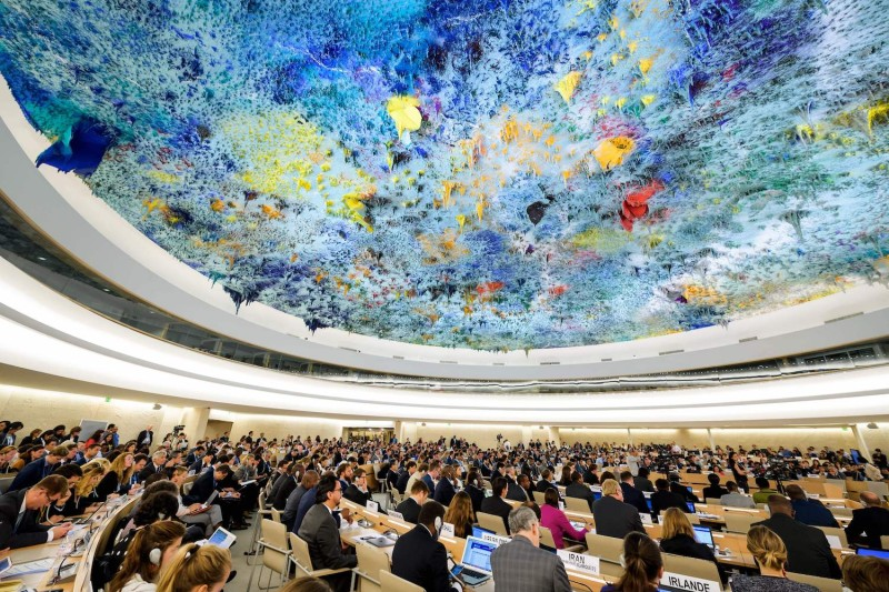 Delegates attend a session of United Nations Human Rights Council on June 6, in Geneva. (Fabrice Coffrini/AFP/Getty Images)