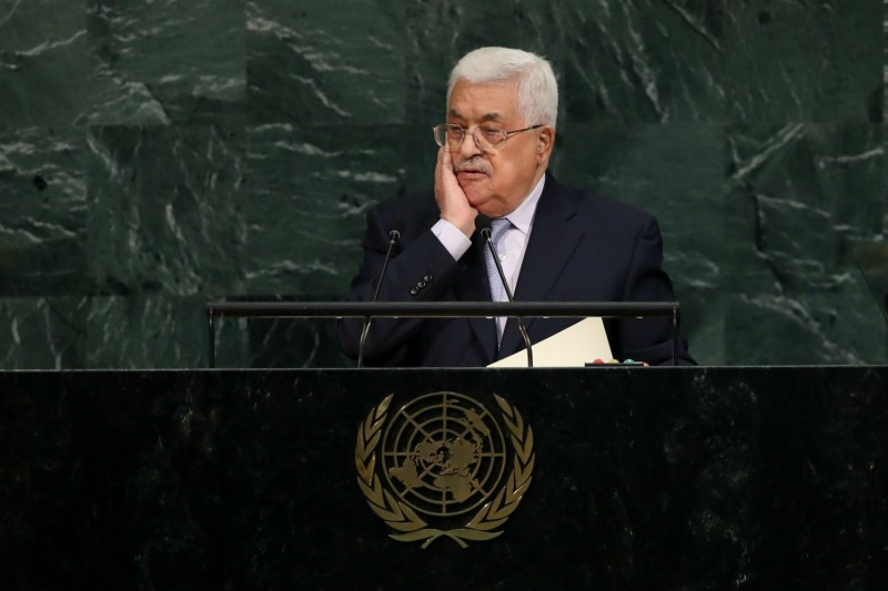 Palestinian President Mahmoud Abbas addresses the United Nations General Assembly on Sept 20. (Drew Angerer/Getty Images)